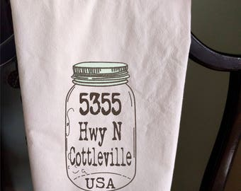 Address Tea Towel Personalized
