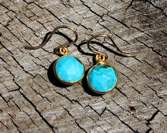Turquoise Earrings - Gold Earrings - 14K Gold Fill Earrings - Faceted Turquoise Drops - Genuine Turquoise December Birthstone - Two Feathers
