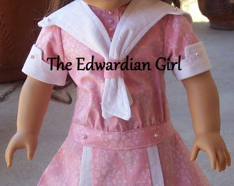 OOAK pink and white nautical Edwardian Titanic era doll dresses. Fits 18 inch play dolls such as American Girl, Springfield, OG. Made in USA