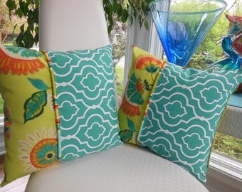 Outdoor Flower Pillow - Teal Trellis Pillow - Green Pillow - Orange Pillow - Patio Pillow - Stripe Pillow - Porch Pillow - Outdoor Pillow
