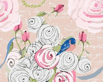 Watercolor Roses and Bluebirds on blush with white French Script fabric by the yard
