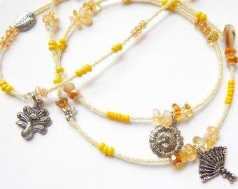 Oshun Waist Beads, Oshun Citrine-Fan-Peacock-Handmirror-Sunflower Waistbeads,  Orisha Waist Beads, Goddess Waist Beads,  African Jewelry