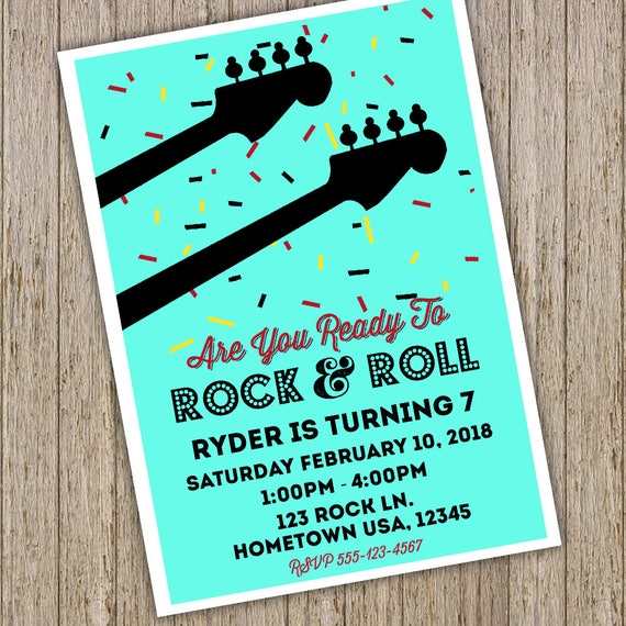 Rock and Roll Party Invitation Guitar Party Music Birthday