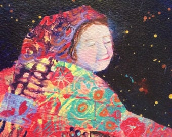 Art print, night dancer, quilted woman