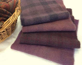 4) Fat 1/16ths, Purple Haze, Hand Dyed Wool Fabric for Rug Hooking and Applique, W360,  Dusty Purples, Primitive Purples