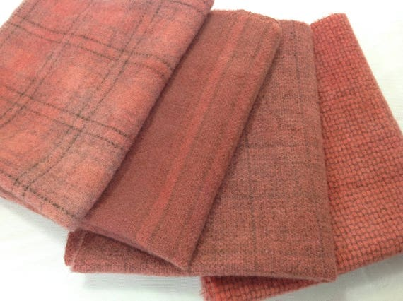 Dusty Roses, 4) Fat 1/8ths, Hand Dyed Wool Fabric W372, Old Rose, Weathered Roses, Country Rose, Coral Rose, Ashes of Roses