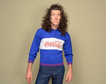 vintage 80s Coca-Cola sweater Coke long sleeve knit pullover 1980 red white blue collar sweater small S petite
