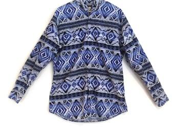 Vintage Men's Aztec Print Shirt // Vintage Aztec Western Shirt // Southwest Geometric Print Shirt