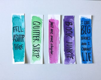 Watercolor Bookmark Set of 5