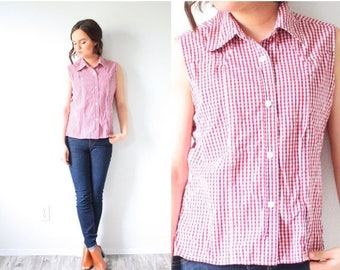 20% OFF JULY 4th SALE Vintage summer plaid shirt // red checkered top // short sleeve shirt // checkered tank top // tied up top // crop top