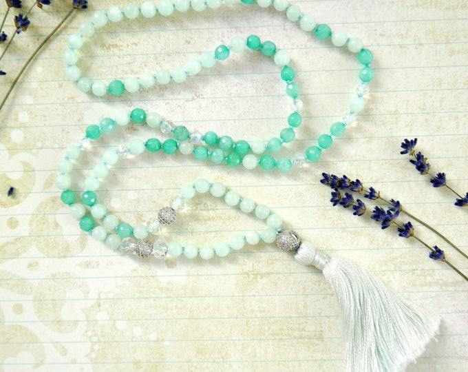 handknotted tassel necklace with aquamarin and jade gemstones, 6mm gemstones, czech glass bead accents and cotton tassel