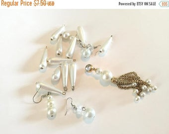SUMMER SALE Destash Craft  Lot of Vintage Salvaged  Pearl Dangles Drops Charms and Pendants Perfect For Bridal