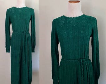 Vintage 1970s Sweater Dress Long Sleeve Dark Turquoise Teal Belted Size Small Medium