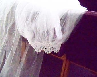 RESERVED FOR D Handmade Veil Cathedral Length with Scalloped Lace Edging Bride Wedding