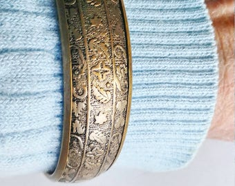 Brass Bangle Bracelet Raised Design Flowers Leaves Hand Forged Vintage Jewelry Jewellery Accessories Gift Guide Women