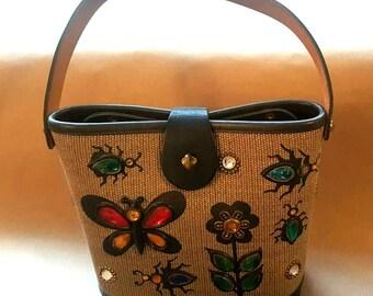 Vintage 1960s Enid Collins Glitter Bug Hand Bag Rare Smaller Size