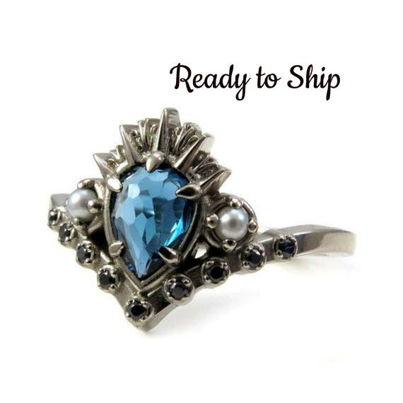 Ready to Ship Size 6-8 - Sea Witch Engagement Ring - Ursula - Rose Cut London Blue Topaz with Seed Pearls and Black Diamonds