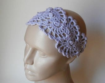 ON SALE 15 % SALE Lacy Crochet Womens HairBand - HeadBand- Crochet Headband- Hair  Accessories - Crochet HairBand in Lavender