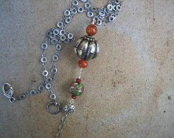 15%off AFRICAN NECKLACE BOHO silver Ethiopian pendant cloisonne bead