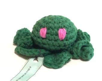 Crochet cotton amigurumi dark green octopus stuffed toy