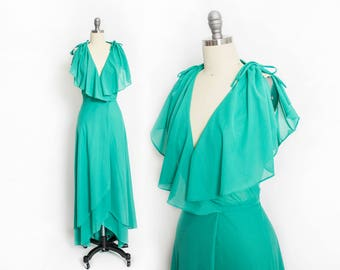 Vintage 1970s Wrap Dress - Turquoise / Teal Green Poly Knit Full Length Boho Maxi Gown - Large
