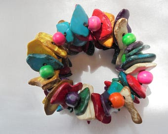 Vintage Wood Bracelet / Bangle POP ART Boho Stretch Wooden Large Chunky Colorful Retro Expandable Statement