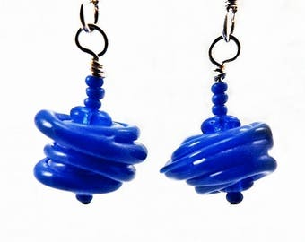 Bright Blue Twirly Swirled Glass Bead Earrings, Playful Boho Handmade Textured Glass Bead Earrings, Mini Earrings