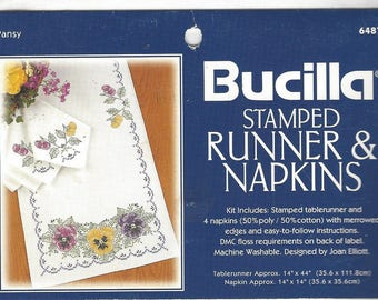 90s Pansy Bucilla Stamped Cross Stitch Table Runner & Napkins Bucilla Kit 64879 Designed by Joan Elliott Pansy Runner with 4 Napkins