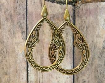 Bohemian earrings tear drop hoop earrings gypsy earrings long antiqued brass unique jewelry ethnic earrings hippie earrings teardrop hoops