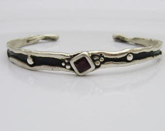 Sterling Silver Cuff Bracelet, Organic Silver Bracelet, Ruby Bracelet, Silver and Black Bracelet, BoHo Bracelet, BoHo Jewelry, Ruby Silver