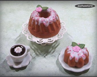 Bundt cake with icing and pink rose decoration, 12th scale miniature food, kouglof/pound cake