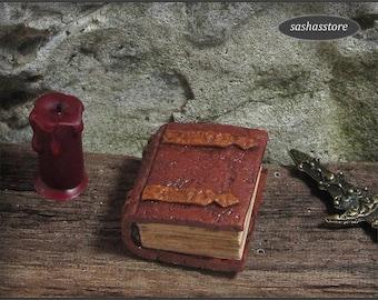 12th Scale Miniature Book, Magic Book, Spell Book, Dollhouse Miniature Aged Book, Fairy Garden