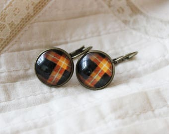 Retro chequered brown black and orange earrings, antique gold, checkered, paned, simple dangle earrings, squares, glass cabochon earrings