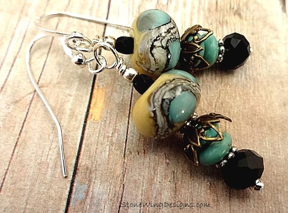 Artisan Lampwork Earrings in Aqua Blue, Yellow and Black