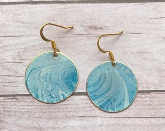 circle light blue water color earrings