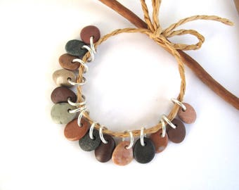 Stone Beads Drilled Rock Jewelry Charms Mediterranean Beach Stone River Stone Natural Stone Pebble Pairs SWEET CHARMS 11-12 mm
