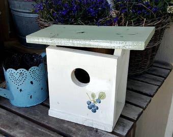 Modern birdhouse,garden decor,rustic,blueberries,functional birdhouse,spring decor,rustic birdhouse,cottage decor,primitive birdhouses,birds