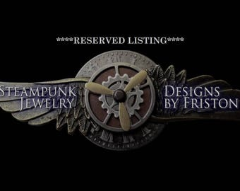RESERVED LISTING for Stan Bevan - Steampunk Medal (M400) - Brooch - Aviator Style Medal - Brass Stamping - Gears and Swarovski Crystals