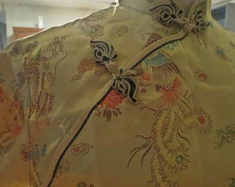 Vintage Gold Brocade Chinese Dress Cheongsam  #273