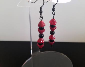 Red Flower Cap Earrings with Black Glass beads on Black French Hooks and Black eye pins