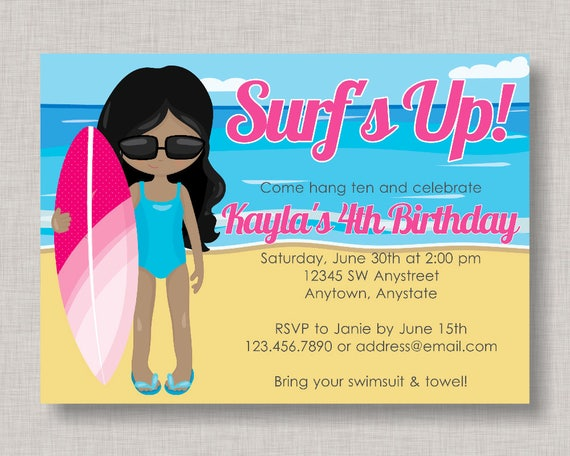 Surfer Birthday Invitation Surfing