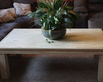 Very Large Coffee Table Rustic Farmhouse Style Antiqued Distressed Table