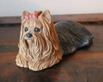 Yorkie Dog, 1983, Sandra Brue, Sandicast Sculpture, Hand Cast and Hand Painted, Free Domestic Shipping
