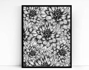 Printable Wall Art PDF - Chrysanthemum Illustration - Hand drawn Mums