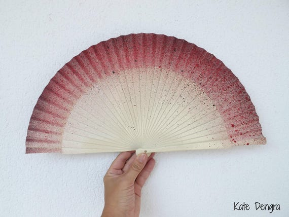 Cream, Deep Red and Black Hand Fan READY to SHIP