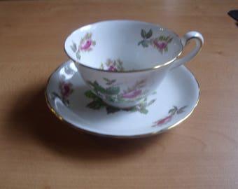 vintage bone china teacup saucer set royal chelsea moss rose england