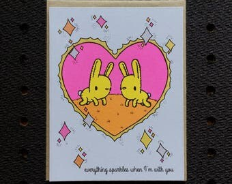 everything sparkles with you card, bunny card, cute valentine, card with glitter, sparkly card