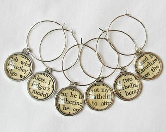 Wuthering Heights Wine Glass Charms Set Emily Bronte Heathcliff Catherine Cathy Silver Domum Vindemia Homewares Barware Literature Handmade