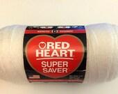 Soft White Red Heart Super Saver Yarn 1 Skein 7 oz