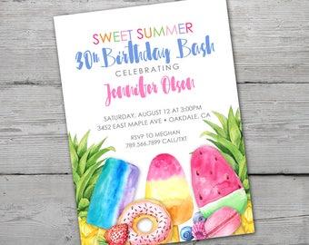 Summer Party Invitation, Summer Party Invite, Summer Birthday Invitation, Summer Party, DIGITAL, Popsicle Party Invitation, Summer Birthday